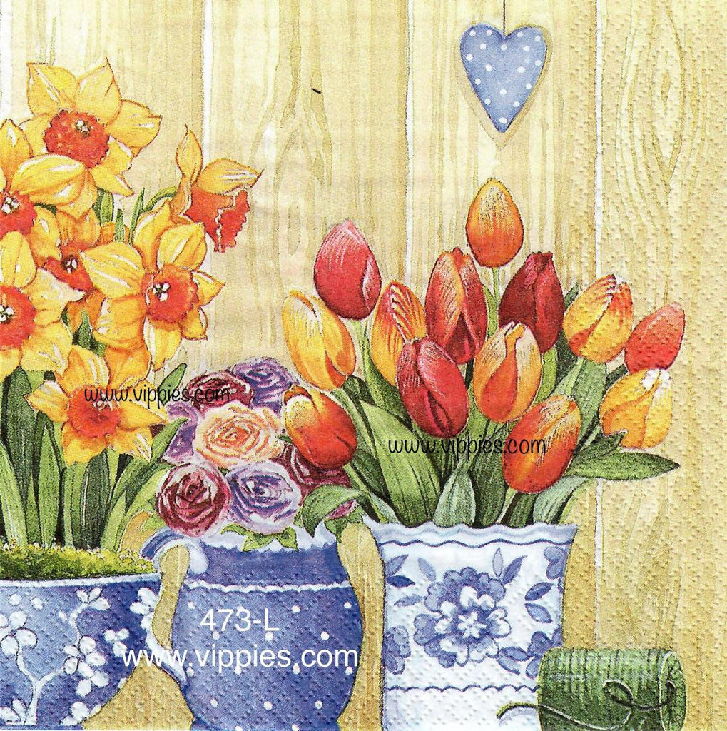 FL-473 Tulips and Daffodils Napkin for Decoupage