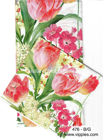 FL-476 Pink Tulips Baby Breath Napkin for Decoupage