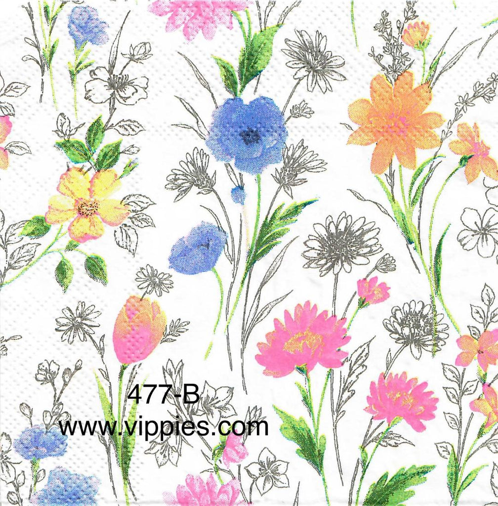 FL-477 Pink/Gold/Blue Floral Napkin for Decoupage