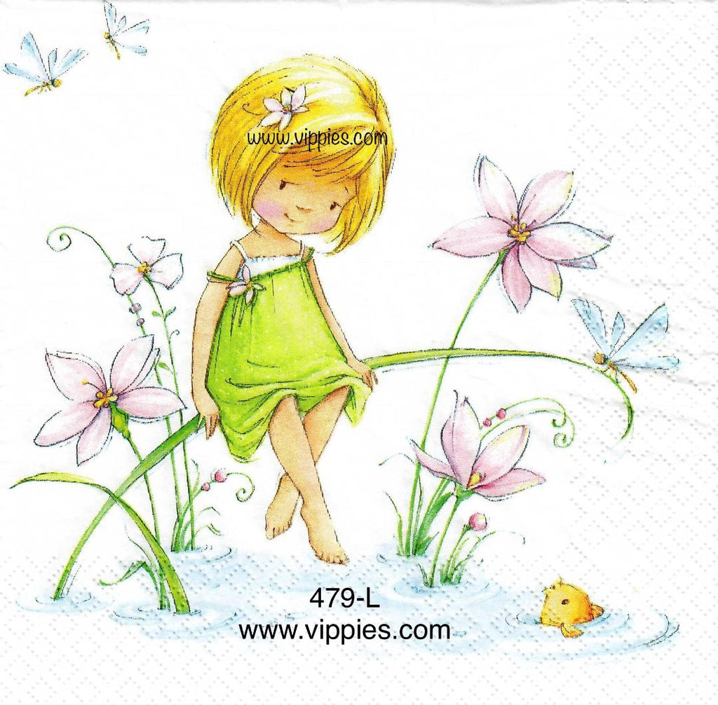 FL-479 Pond Sitting Girl Napkin for Decoupage