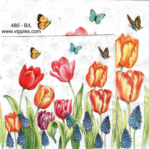 FL-480 Red Tulips and Butterflies Napkin for Decoupage