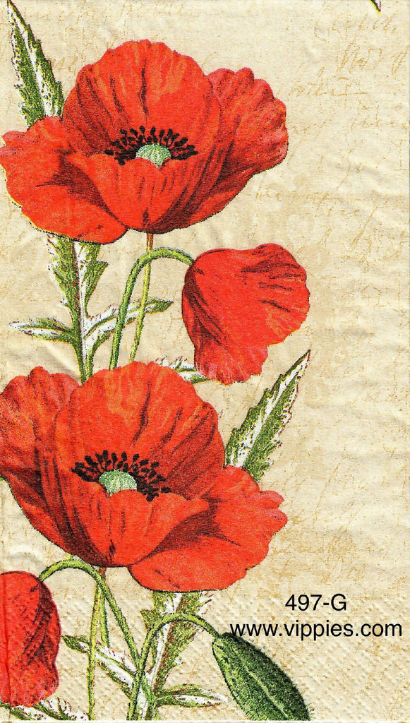 FL-497 Red Poppies Guest Napkin for Decoupage
