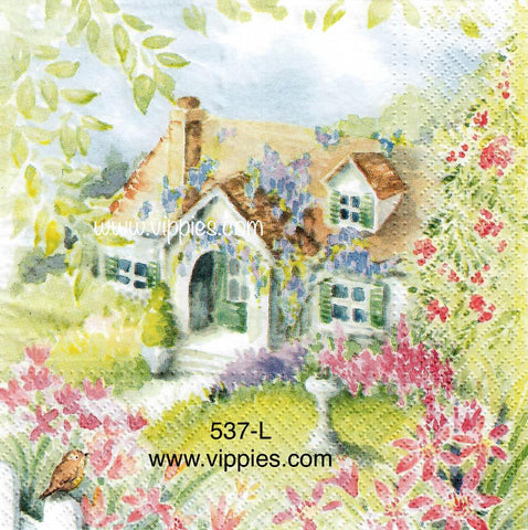FL-537 Flower Cottage Napkin for Decoupage