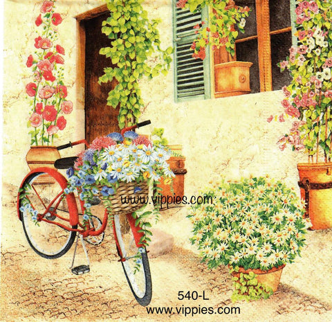 FL-540 Red Bike Flower Wall Napkin for Decoupage