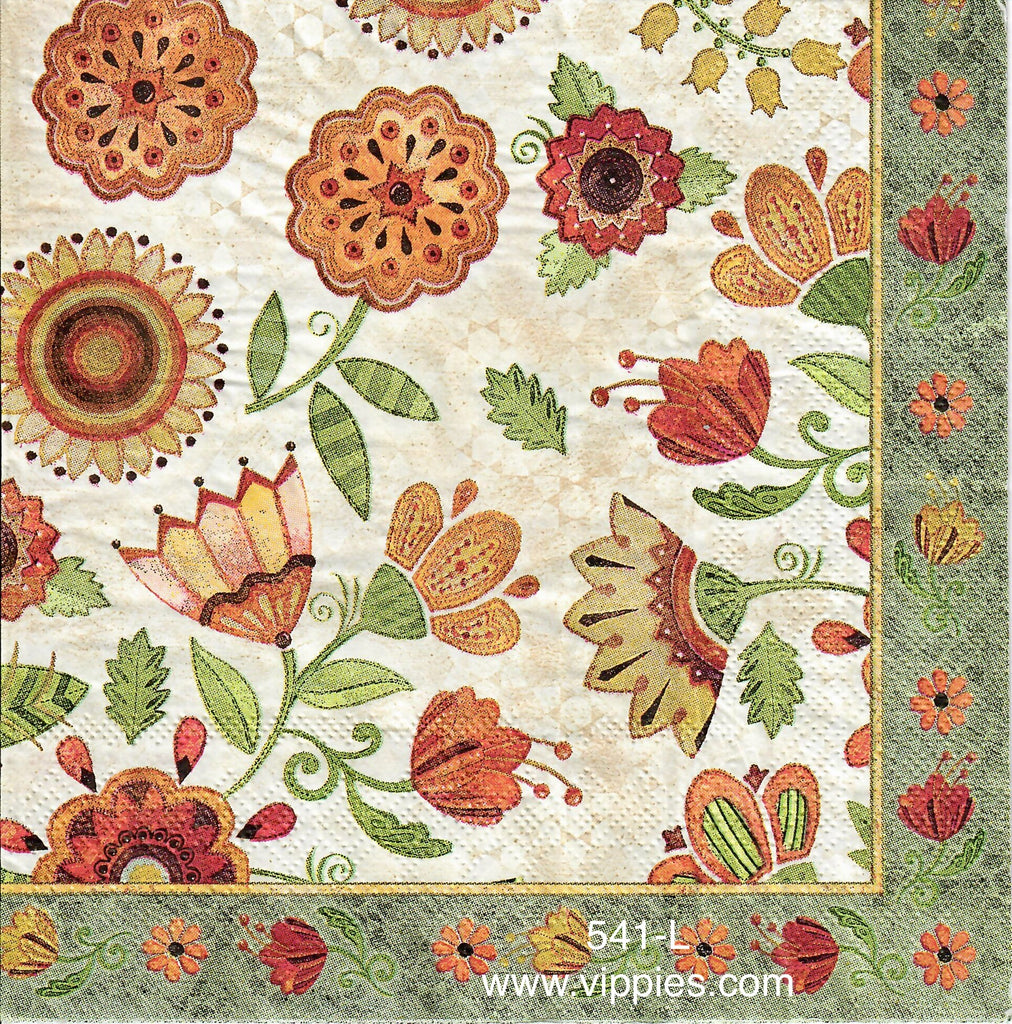 FL-541 Paisley Flower Napkin for Decoupage