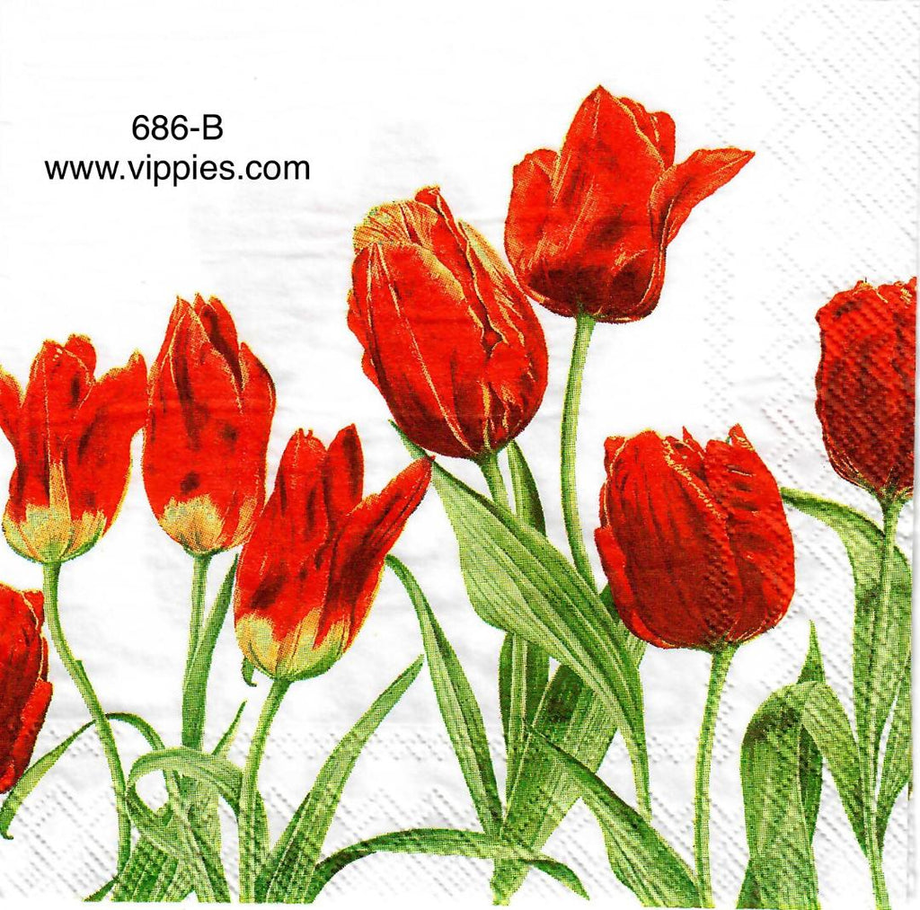 FL-686 Red Tulips Napkin for Decoupage