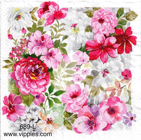FL-689 Pink and Red Floral Napkin for Decoupage