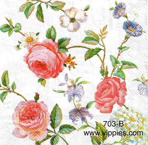 FL-673 Pink Roses Petunias Napkin for Decoupage