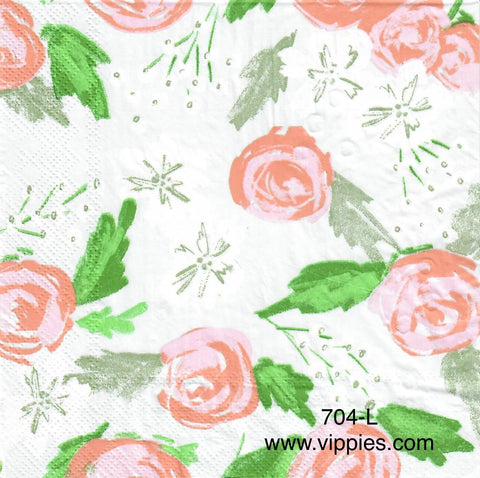 FL-674 Floral Silver Dot Napkin for Decoupage