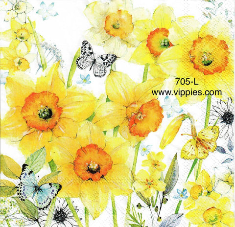 FL-705 Daffodils Butterflies Napkin for Decoupage