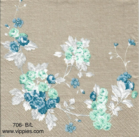 FL-706 Blue Floral on Gray Napkin for Decoupage