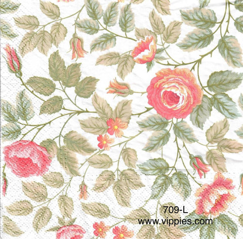 FL-679 Pink Roses Green Leaves Napkin for Decoupage