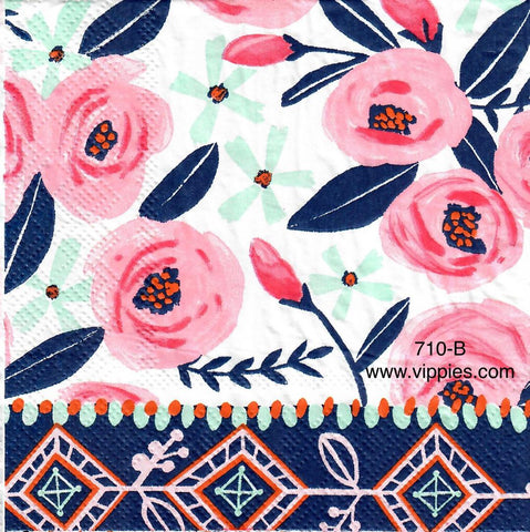 FL-710 Pink Stylized Roses Napkin for Decoupage