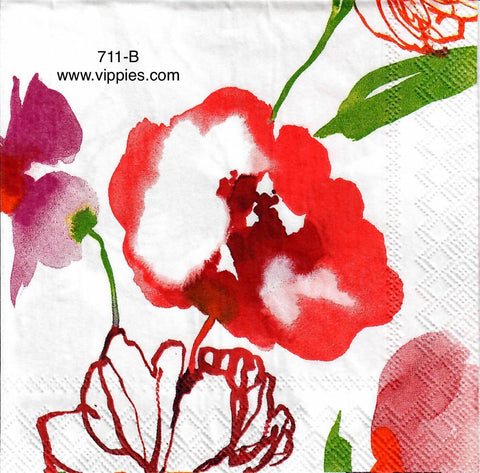 FL-711 Watercolor Floral Napkin for Decoupage