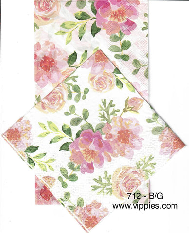 FL-712 Pink Floral Green Leaves Napkin for Decoupage