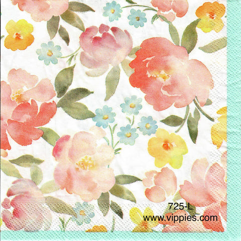 FL-725 Floral Blue Border Napkin for Decoupage
