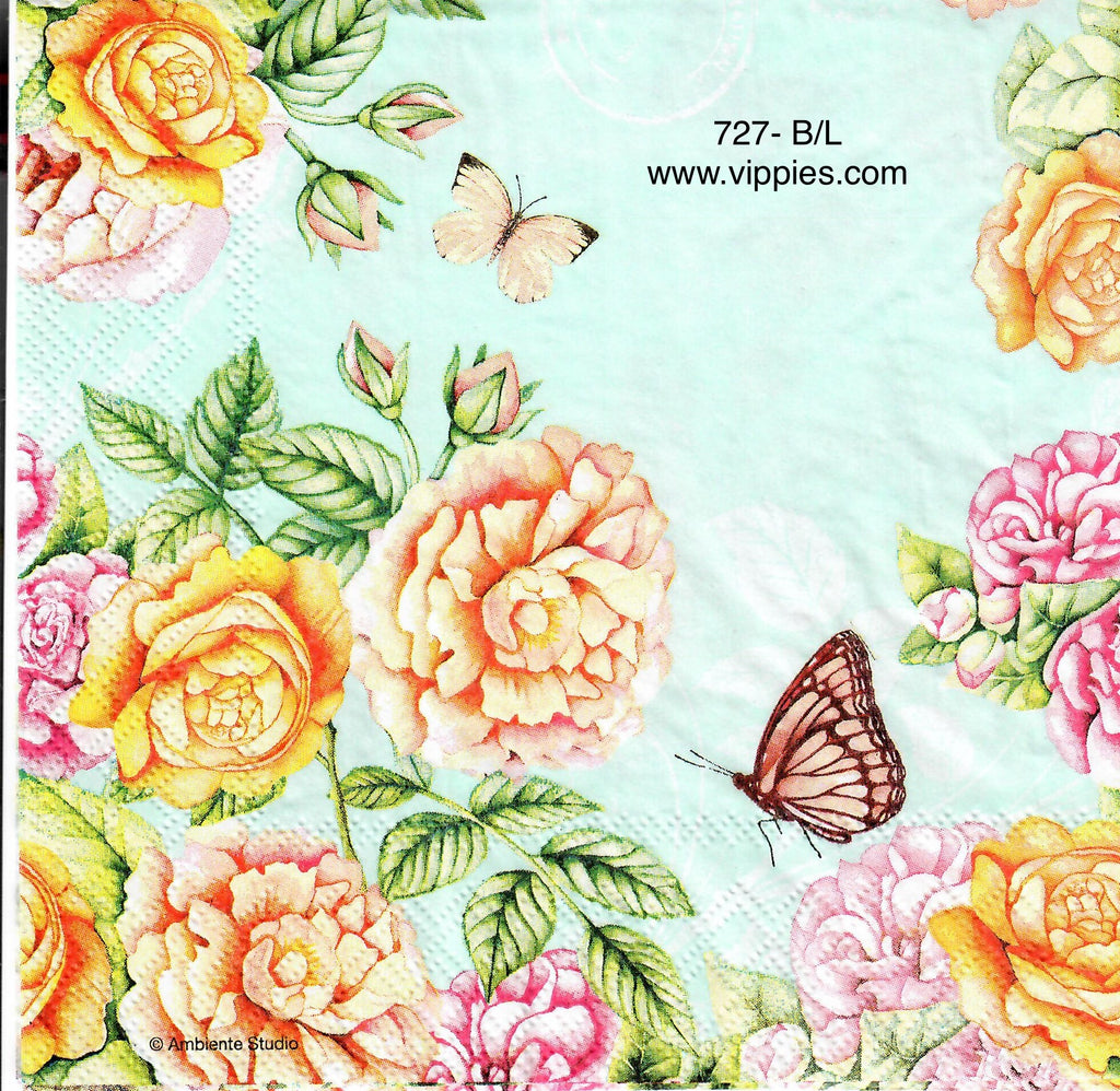 FL-727 Blue Floral Butterflies Napkin for Decoupage