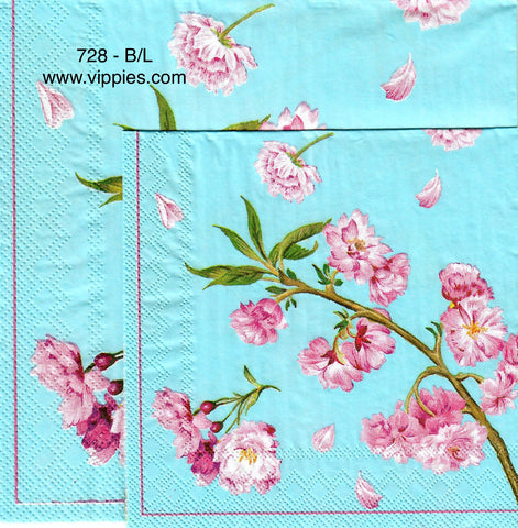 FL-728 Aqua Cherry Blossoms Napkin for Decoupage
