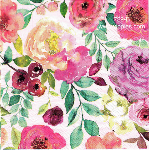 FL-729 Watercolor Floral Napkin for Decoupage