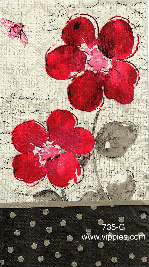 FL-735 Red Floral with Polka Dots Guest Napkin for Decoupage