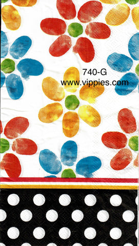 FL-740 Polka Dot Multi Floral Guest Napkin for Decoupage