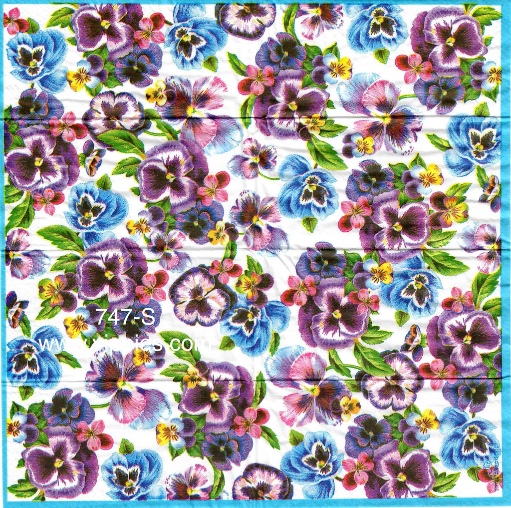 FL-747 Purple Blue Pansy Sniffer Napkin for Decoupage