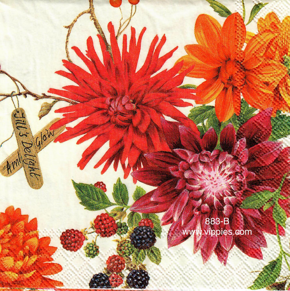 FL-883 Floral Berries Napkin for Decoupage
