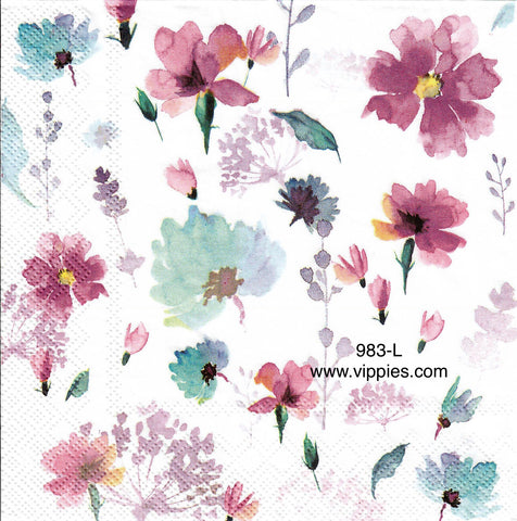 FL-983 Pink Blue Pressed Flowers Napkin for Decoupage