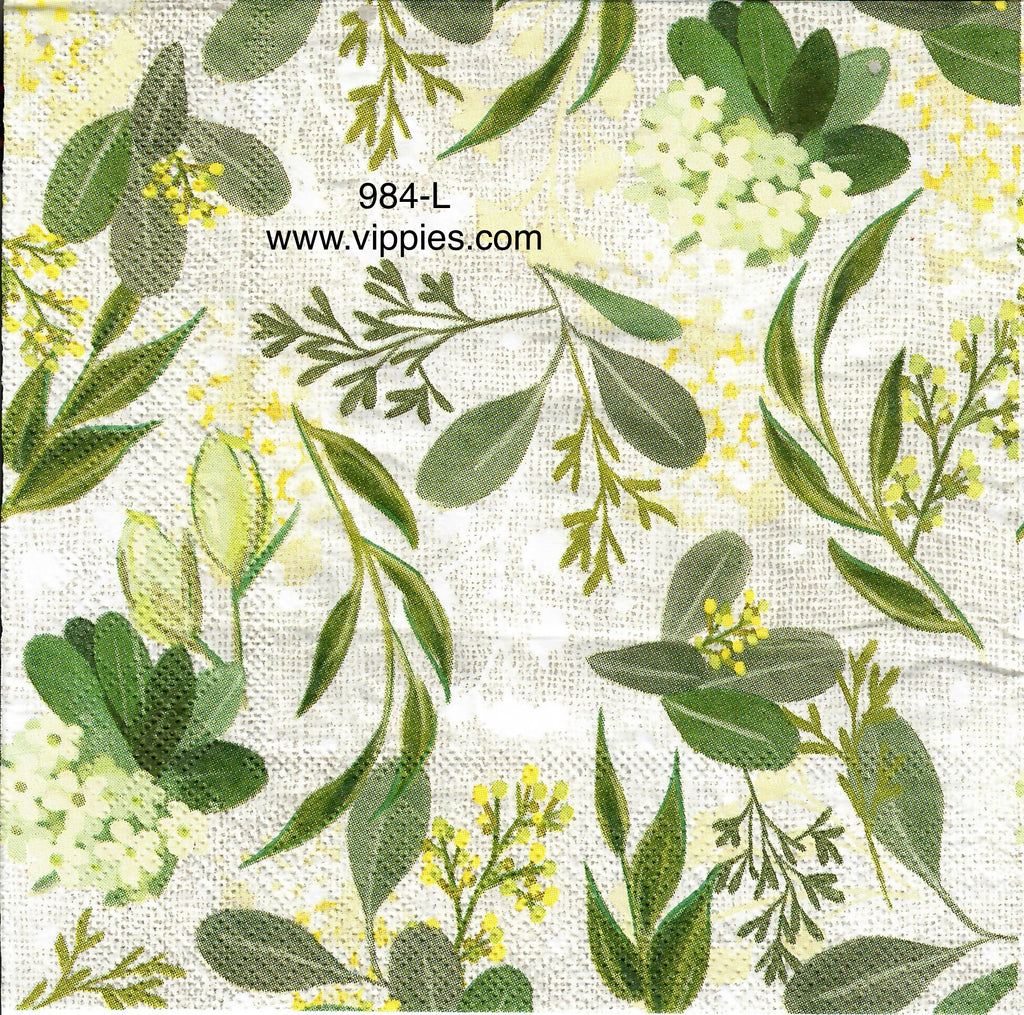 FL-984 Pastel Leaf Garden Napkin for Decoupage
