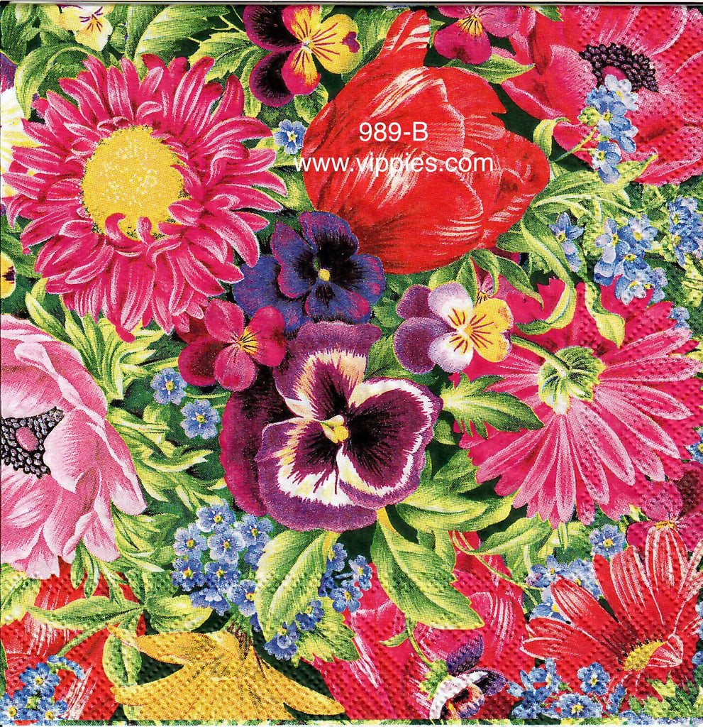 FL-989 Pansy Tulip Mix Napkin for Decoupage