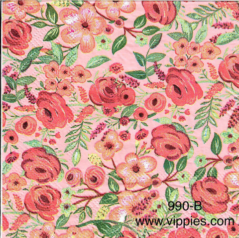 FL-990 Pink Abstract Roses Napkin for Decoupage