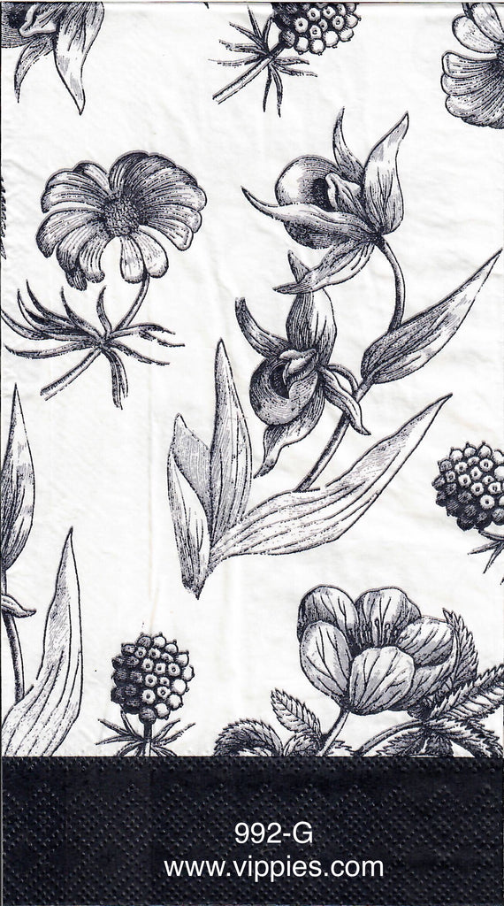 FL-992 Black Floral Guest Napkin for Decoupage