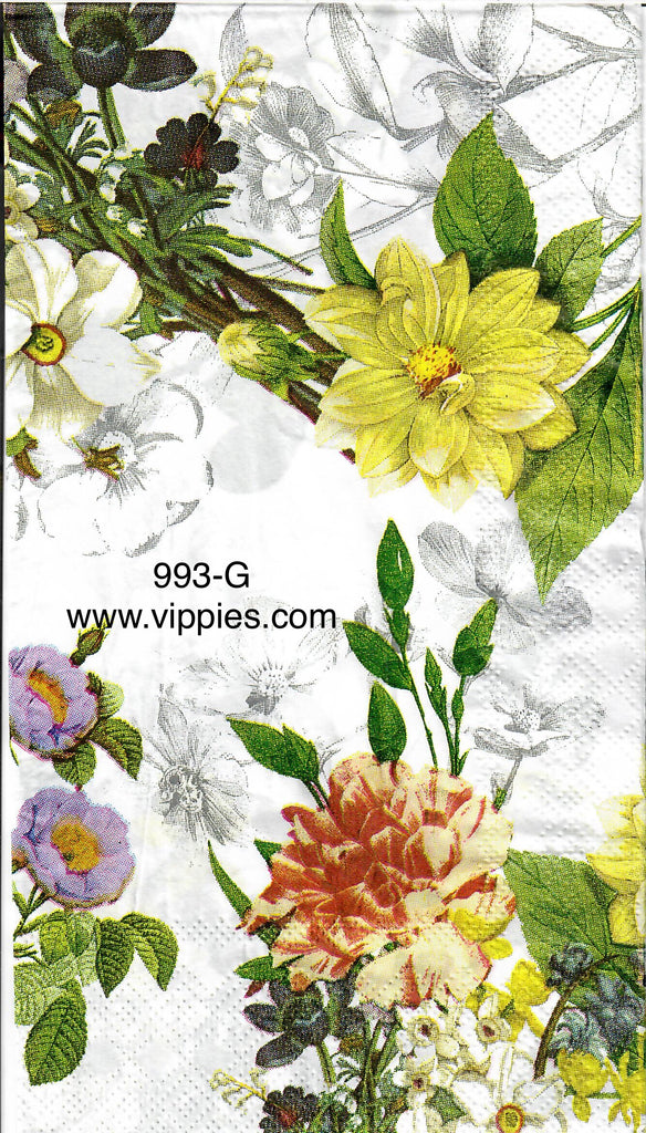 FL-993 Dahlia Rose Floral Guest Napkin for Decoupage