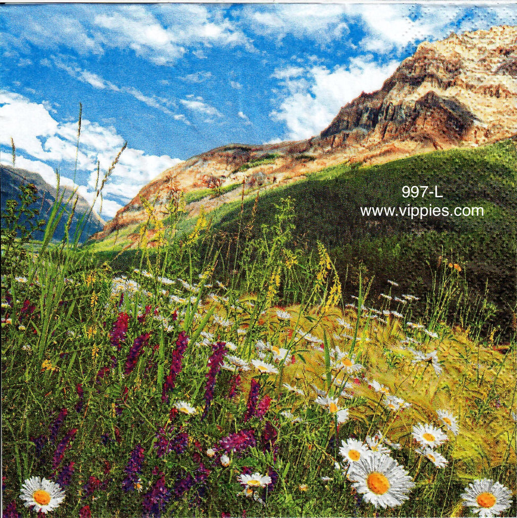 FL-997 Flower Field Mountains Napkin for Decoupage