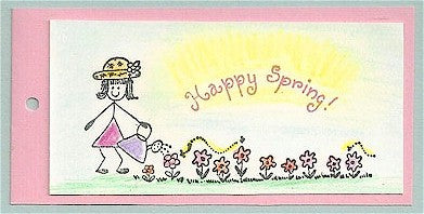 Curved Happy Spring Rubber Stamp 2292C