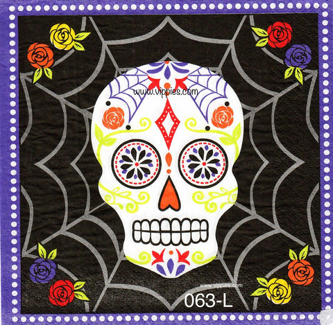 HWN-063 Sugar Skull Colors Napkin for Decoupage