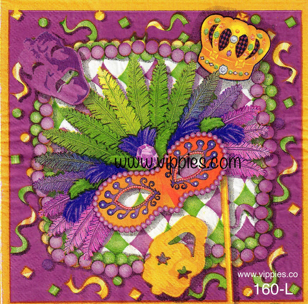 HWN-160 Mardi Gras Mask Napkin for Decoupage