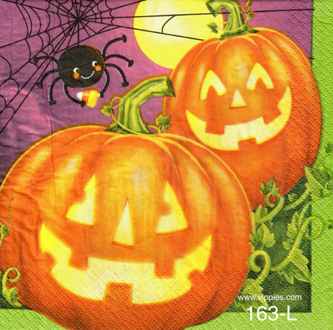HWN-163 Pumpkin Spider Napkin for Decoupage