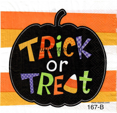 HWN-167 Trick or Treat Pumpkin Napkin for Decoupage