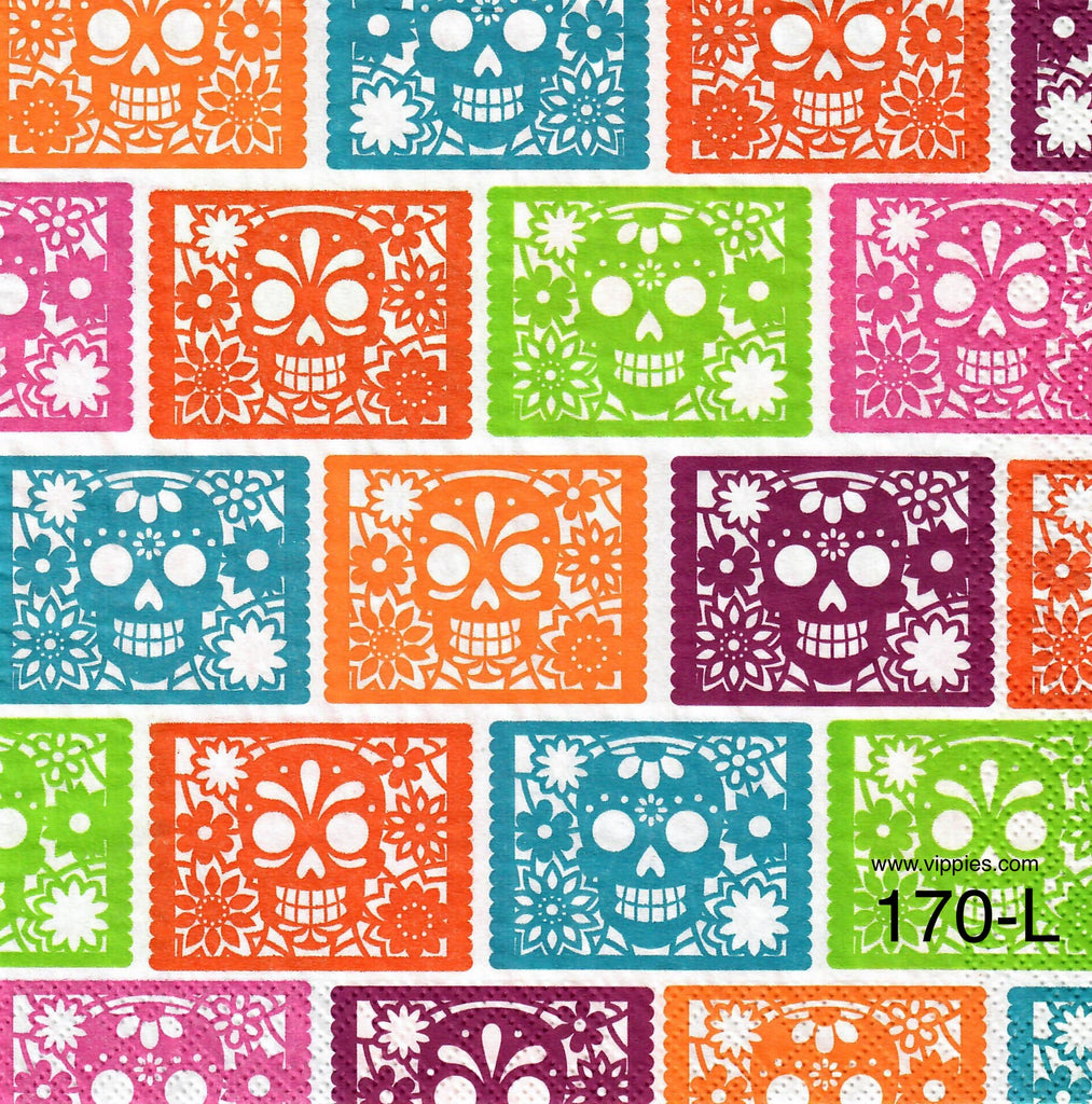 HWN-170 Sugar Skulls Allover Napkin for Decoupage