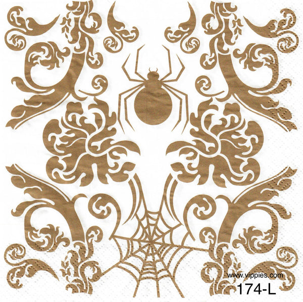 HWN-174 Gold Spider and Web Napkin for Decoupage
