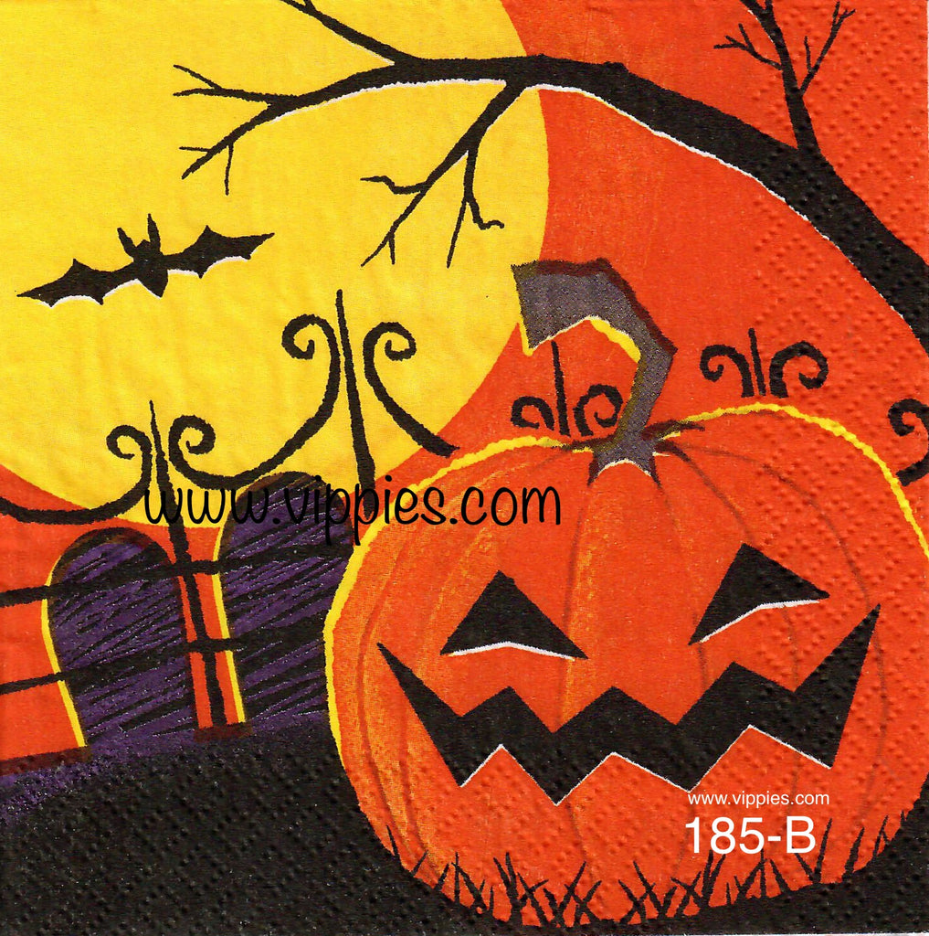 HWN-185 Pumpkin Graveyard Napkin for Decoupage