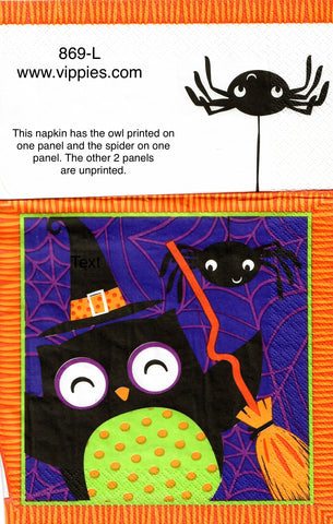 HWN-869 Black Owl and Friends Napkin for Decoupage