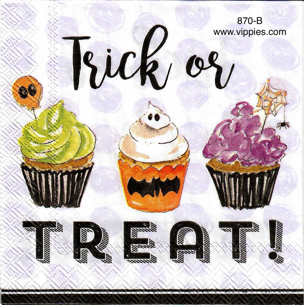 HWN-870 Trick or Treat Cupcakes Napkin for Decoupage