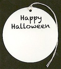 "Pre-Printed ""Happy Halloween"" White Circle Tags - PPCTHHal"