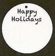 "Pre-Printed ""Happy Holidays"" White Circle Tags - PPCTHHol"
