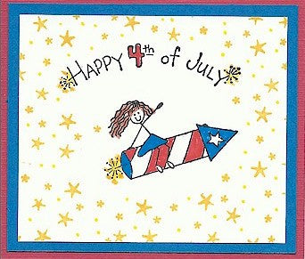 Happy 4th of July Rubber Stamp 2387D