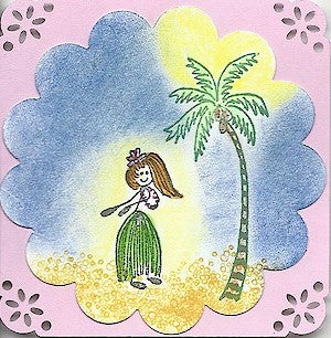 Hula Girl Rubber Stamp 2209C