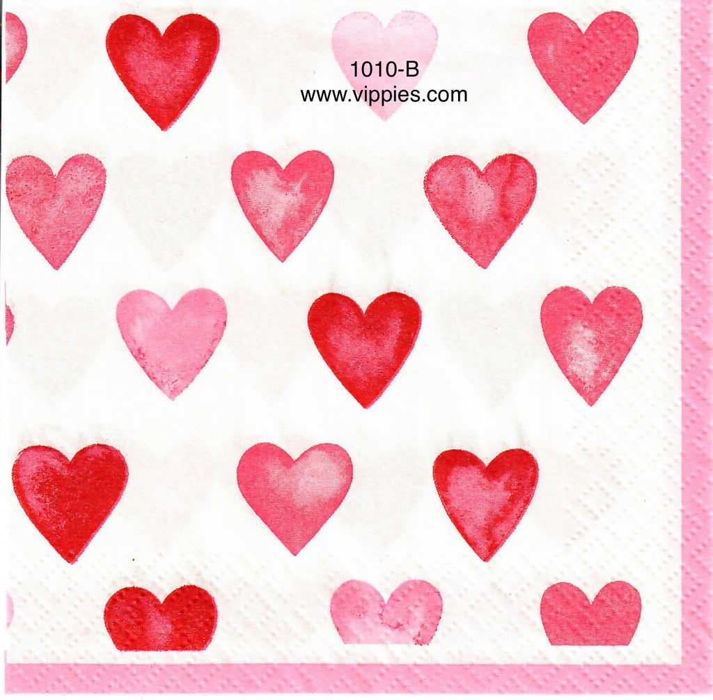 LVY-1010 Shades of Pink Hearts Napkin for Decoupage