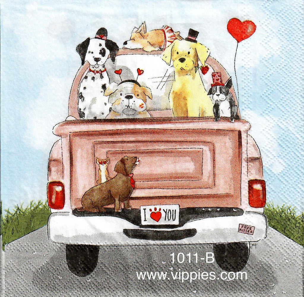 LVY-1011 Valentine Dogs Truck Napkin for Decoupage
